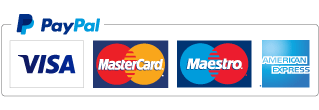 PayPal image showing logos for Visa, Mastercard, Maestro & American Express